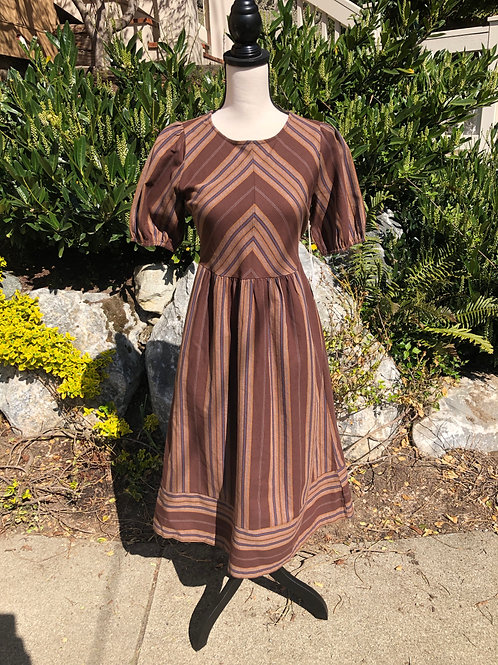 Blu Pepper Brown and Navy Stripe Dress