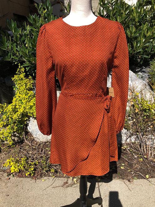 Blu Pepper Rust Polka Dot Spring Dress