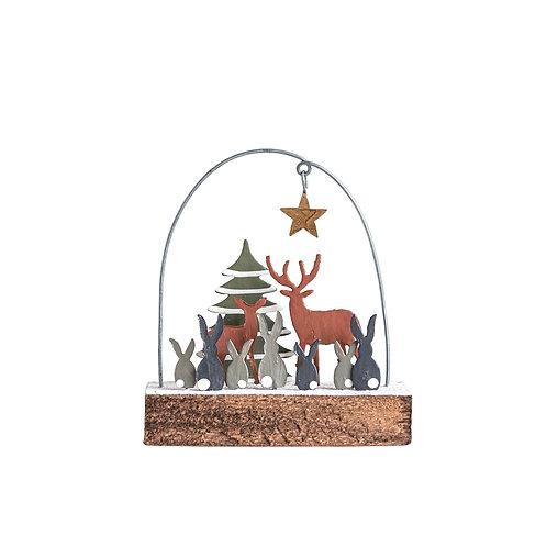 Wood Rabbits and Deer Ornament