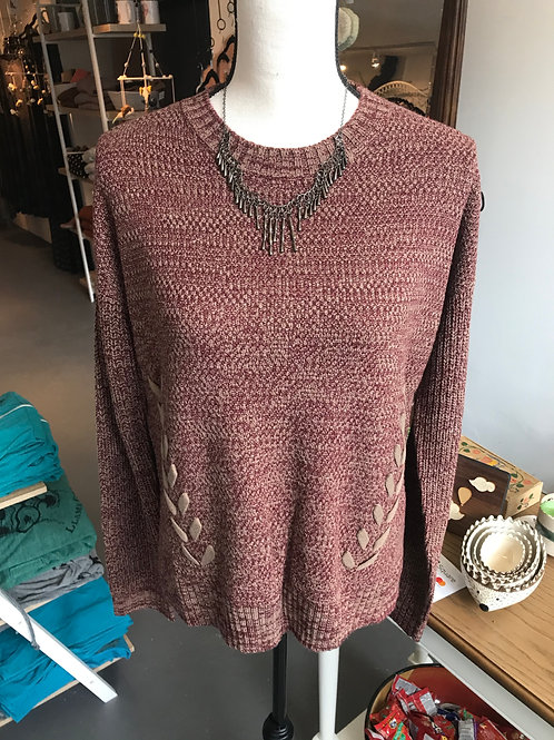 Hem & Thread Mauve Lace Stitched Sweater