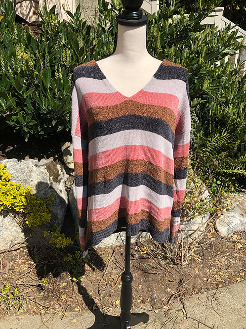 Hem & Thread Navy and Pink Stripe Sweater