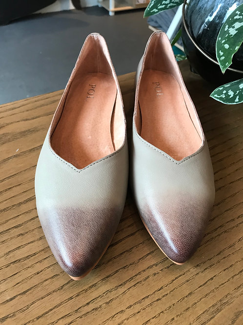 Grey and Brown Tipped Ballet Flats