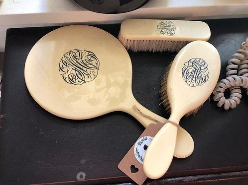 Vintage Hand Mirror and Brush Set