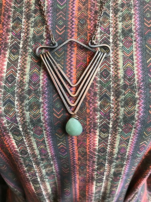 Aventurine and Brass Necklace