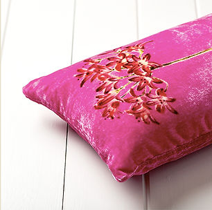 Hand-printed Ramson Silk velvet cushion