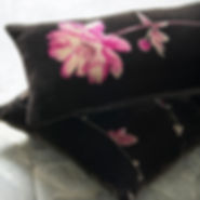 Hand-printed silk velvet cushion