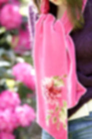 Hand-printed silk velvet scarf