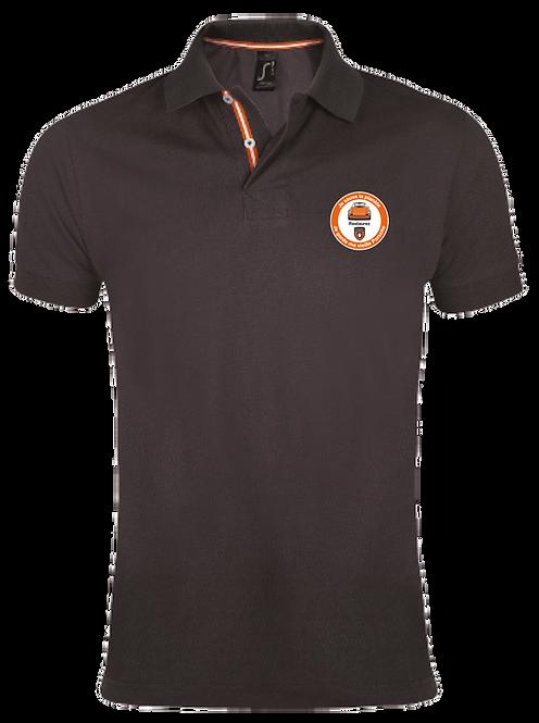 """Polo shirt  gris, logo orange """"Je sauve la planète, je garde ma vieille Porsche"""""""