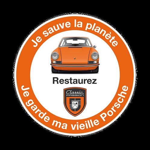 """Autocollant Orange  """"Je sauve la planète, je garde ma vieille Porsche"""""""