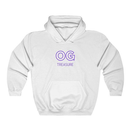 Purples Outline OG Logo White Hooded Sweatshirt