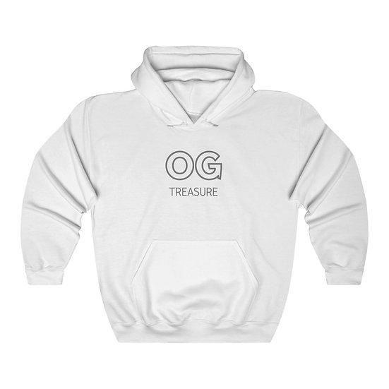 Grey Outline OG Logo White Hooded Sweatshirt