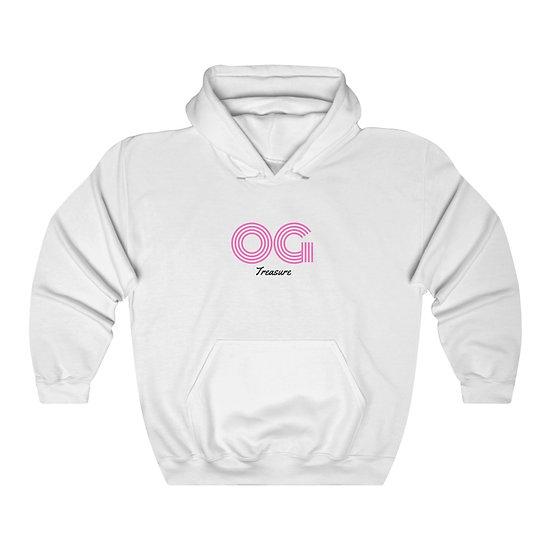 Pink Triple Line OG White Hooded Sweatshirt