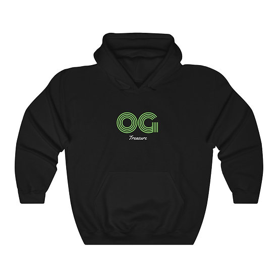 Green Triple Line OG Black Hooded Sweatshirt