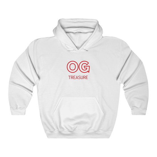 Red Outline OG Logo White Hooded Sweatshirt