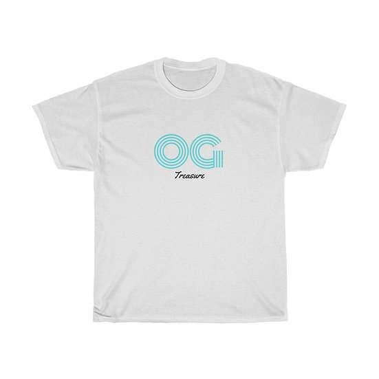 Sky Blue Triple Line OG White Tee