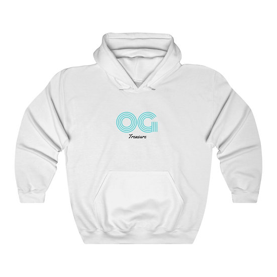 Sky Blue Triple Line OG White Hooded Sweatshirt