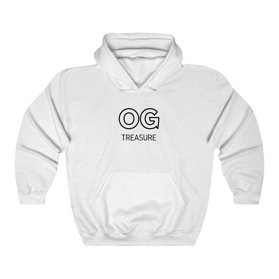 Black Outline OG Logo White Hooded Sweatshirt