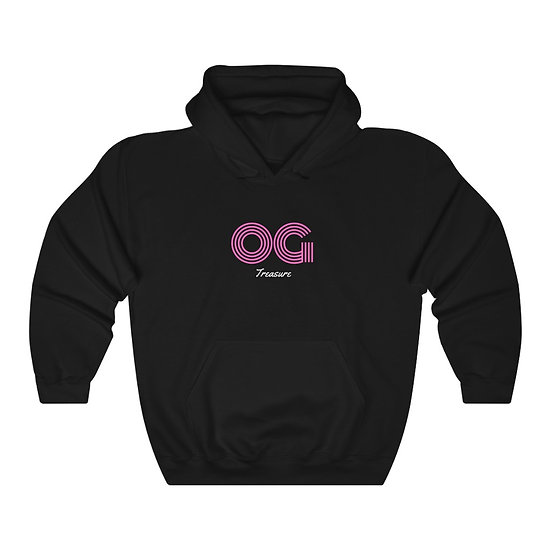 Pink Triple Line OG Black Hooded Sweatshirt