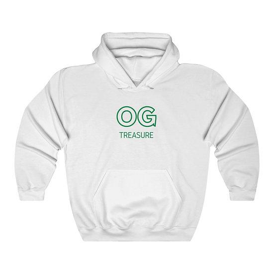 Green Outline OG Logo White Hooded Sweatshirt