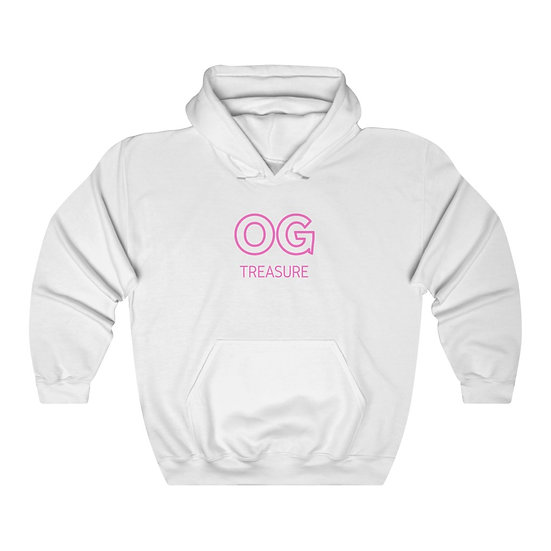 Pink Outline OG Logo White Hooded Sweatshirt