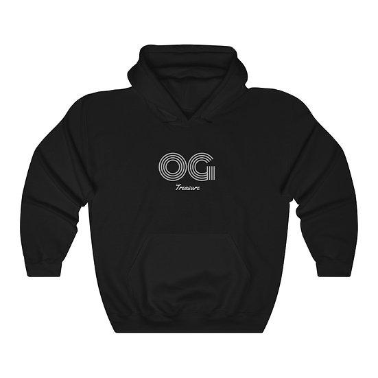 White Triple Line OG Black Hooded Sweatshirt