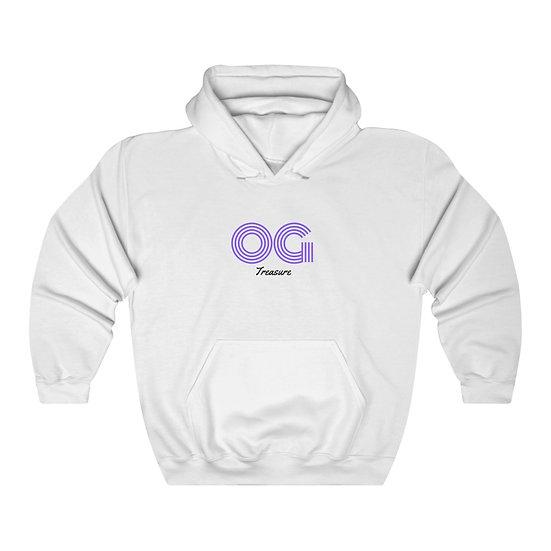 Purple Triple Line OG White Hooded Sweatshirt