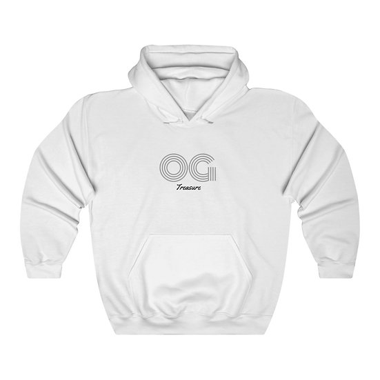 Grey Triple Line OG White Hooded Sweatshirt