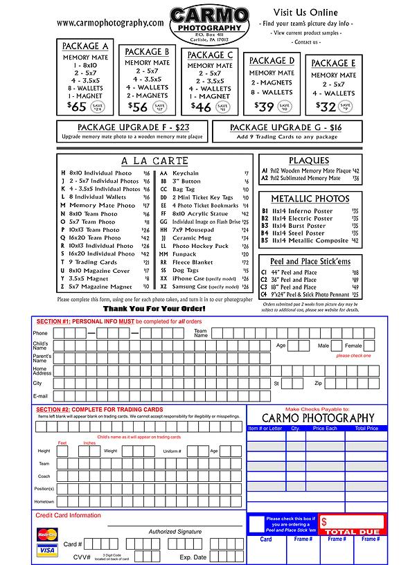 Carmo League Order Form - Printable 2020