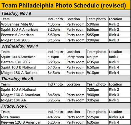 Team Philadelphia Photo Schedule - UPDAT