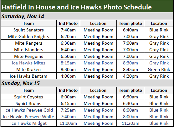 Hatfield House and Ice Hawks Photo Sched
