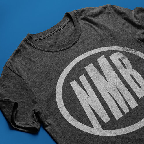 Dark Heather Grey tee with light grey NMB logo