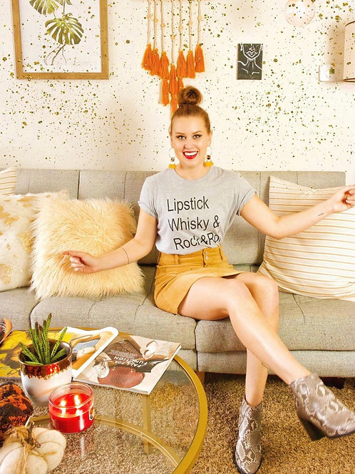 Lipstick Whisky and Rock and Roll Graphic T-shirt