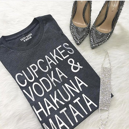 Cupcakes Vodka and Hakuna Matata Graphic T-shirt