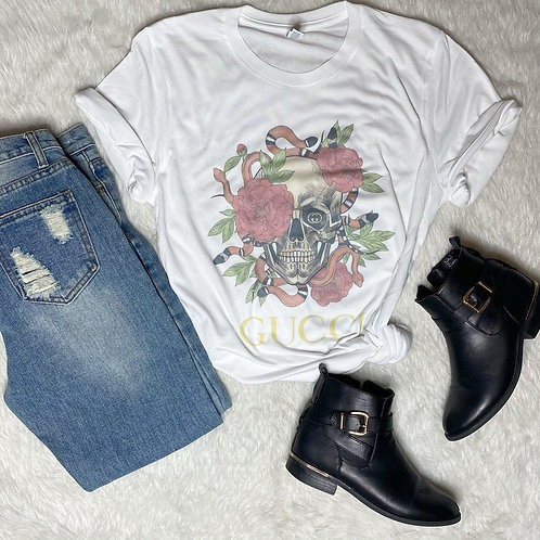 Floral Skull Graphic T-shirt ( Vintage Feel )