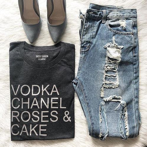 Vodka Chanel Roses & Cake Graphic T-shirt