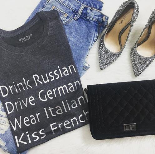 e41c6fe51 Drink Russian Drive German Wear Italian Kiss French Graphic T-shirt