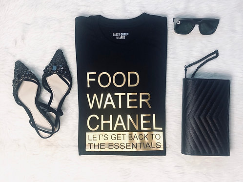 Food Water Chanel . Let's get back to the essentials . Graphic Tshirt