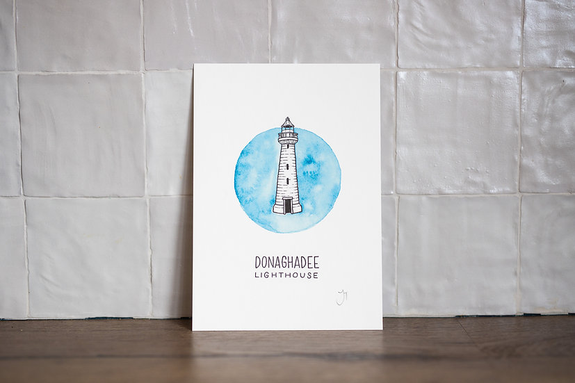 Donaghadee Lighthouse Illustrated A5 Print