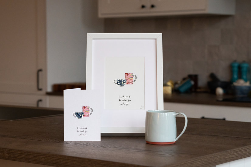 I Just want to drink tea with you Illustrated A5 Print