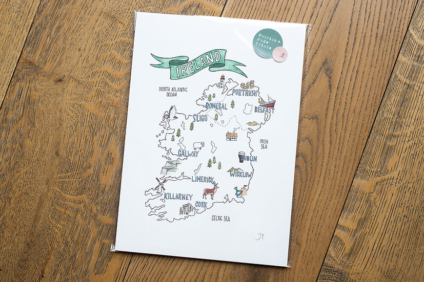 Ireland Map Illustrated Print