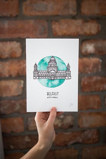 Belfast City Hall Illustrated Print