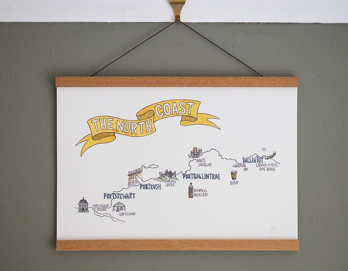 The North Coast Map Illustrated Print