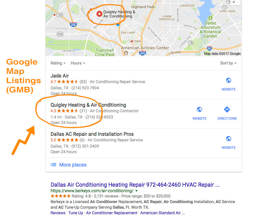 Google My Business Map listing visual example