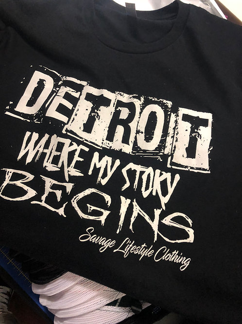 DETROIT WHERE MY STORY BEGINS HOODIES