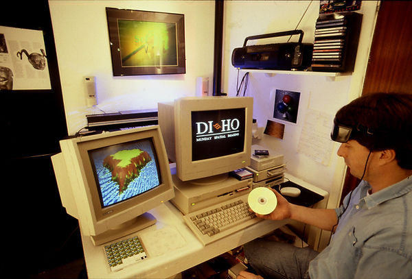 Rob Munday making the world's first digital holograms at his studio near London in the early 90's.