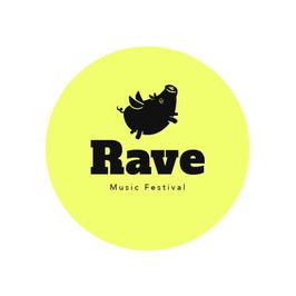Logo vom Rave music festival mit einem fliegenden Schwein