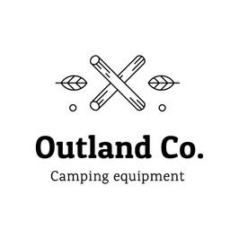 Логотип Outland Co. Camping с изображением скрещенных палок и листьев