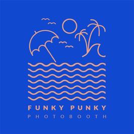 Logo de Funky Punky con una escena de playa