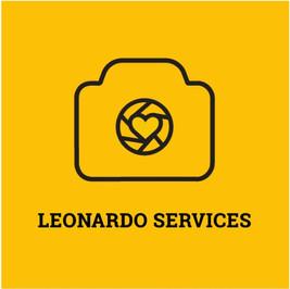 Logo de Leonardo Services con una cámara fotográfica