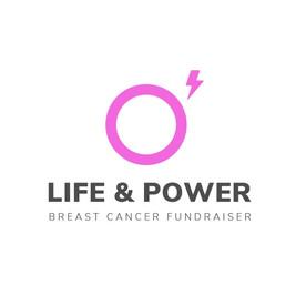 Logo von Life and power mit einem rosa Kreis